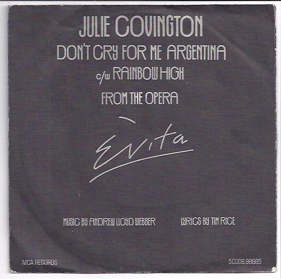 "JULIE COVINGTON ""Don't cry for me Argentina"""