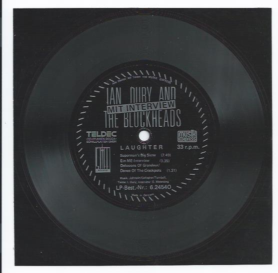 "IAN DURY & THE BLOCKHEADS ""Laughter"" (flexi-disc)"