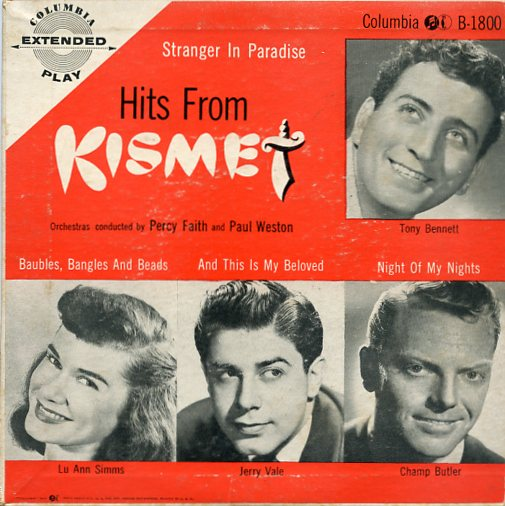 "TONY BENNETT,LU ANN SIMMS,JERRY VALE ""Hits from KISMET"" EP"