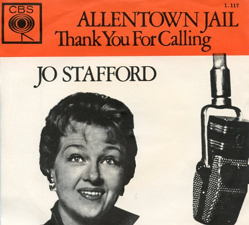 "JO STAFFORD ""Allentown jail"" (oranje)"