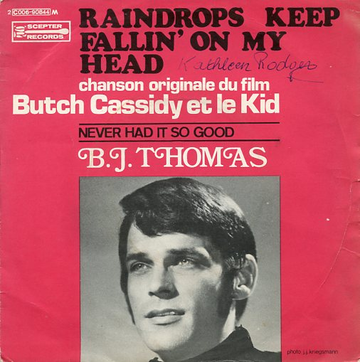 "B.J.THOMAS ""Raindrops keep fallin' on my head"" (fr)"