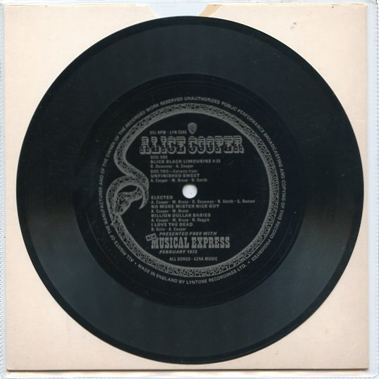 "ALICE COOPER ""New Musical Express"" [Flexi-disc] 331/3 rpm"